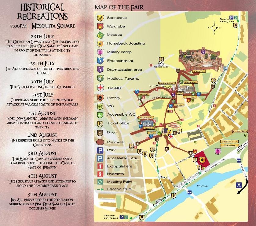 MAP And Event Program For The Silves Medieval Fair Algarve - Portugal map alvor